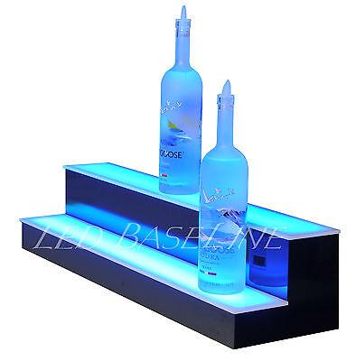 "31"" 2 Step LED Lighted Back Home Bar Glowing Liquor Bottle Shelf Display Stand 3"