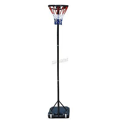 FoxHunter Netball Post Set Stand 3.05M Adjustable Height - With Wheel Hoop Net 3