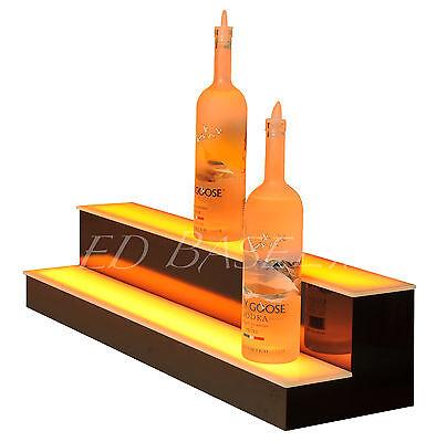 "31"" 2 Step LED Lighted Back Home Bar Glowing Liquor Bottle Shelf Display Stand 4"