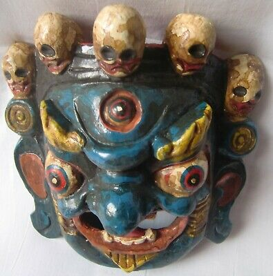 Multicolor wooden demon face mask wood devil head statue hand painted home decor 4