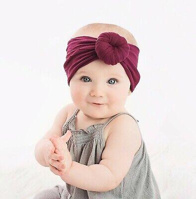 Baby Girls Bow Bun Turban Headband Hair band Head Wrap Cute Kids Plain Stretch 4