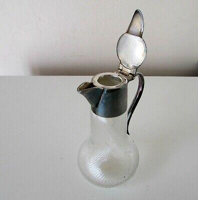 Wmf Silver Plate Swirled Glass Pitcher Jug Antique Miniature 4'' 5
