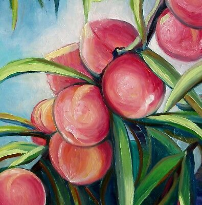 "Peaches 20X16"" Hand Painted Original Oil Painting Garden Fruits by Nadia Bykova 2"