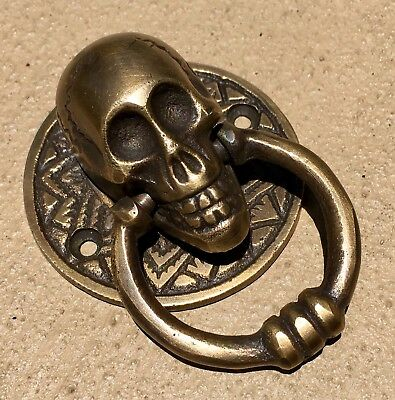 "2 small SKULL head handle DOOR PULL ring natural cast BRASS old style 5 cm 2"" 4"