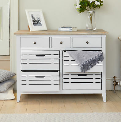 Signature Solid Wood 7 Drawer Sideboard Servery Cabinet Grey Limed Oak Top 2