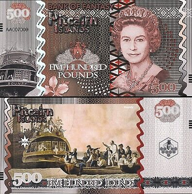Pitcairn Islands 6 Pcs Set Unc 5 10 20 50 100 500 Pounds 2018 Same Serial Number 8