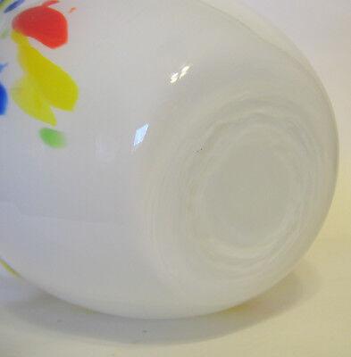 Studio Art Cased Handkerchief Vase Glass Hand Blown White Multicolor 8 to 9 Inch 6