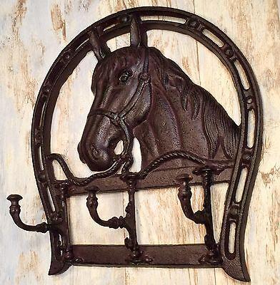 Cast Iron Horse Head & Horseshoe Wall-Mount Vintage Coat/Towel Rack Holder 2