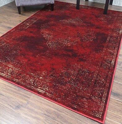 Burgundy Rug Classic Vintage Design Traditional Faded Distressed Ruby Red 3