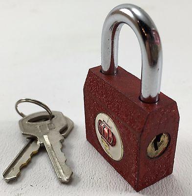 "12 Iron Padlocks Asstd Colors 1+1/8 Inch Wide, 2"" High W/ Keys Not Keyed-Alike 5"