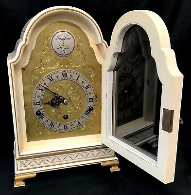 Stunning Antique Musical Cream Chinoiserie Three Train Clock Lacquered Oriental 2
