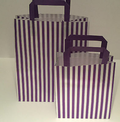 FLAT STRIPE Handle Coloured Paper Bags For Parties & Christmas Bags 7