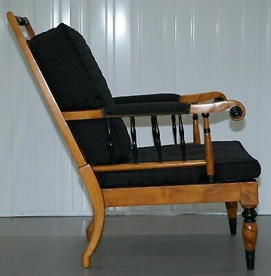 Antique Satin Birch Wood Swedish Biedermeier Library Reading Armchair Ebonished 10