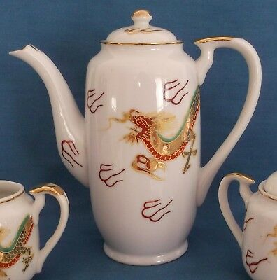 Vintage Japanese Satsuma Dragon Gold Porcelain Coffee Set Lithopane Geisha Girl 4