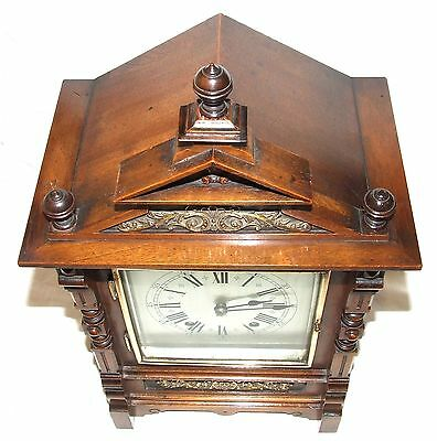 Antique Oak & Brass TING TANG Bracket Mantel Clock : CLEANED & SERVICED (a60) 4