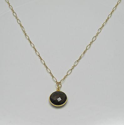Smoky Brown Quartz Bezel 15mm Round Gemstone Gold Filled Necklace 3