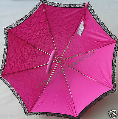Retro Victorian Lace Bridal/Wedding Umbrella  Parasol In Fuchsia/Pink 2