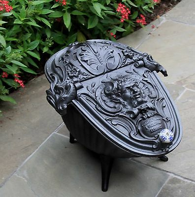 Antique French Gothic Victorian Cast Iron Fireplace Hearth Coal Hod Scuttle 11