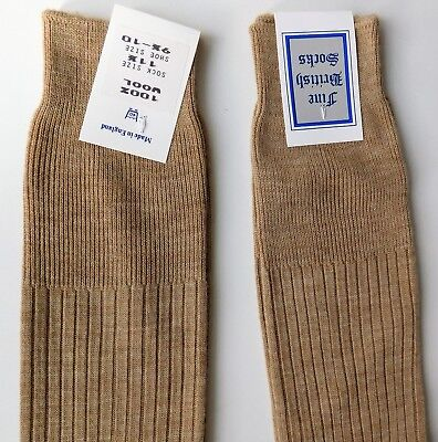 "Fine British Socks all wool beige Sock size 11.5"" Vintage traditional mens wear 2"