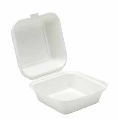 "6"" Burger Box White Biodegradable Bagasse Sugarcane Food Containers  BIO001 2"