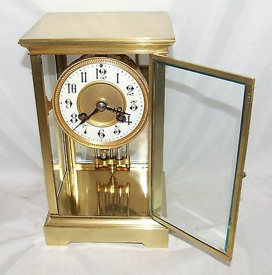 Antique French Four Glass Brass Striking Bracket Mantel Clock CLEANED & SERVICED 4