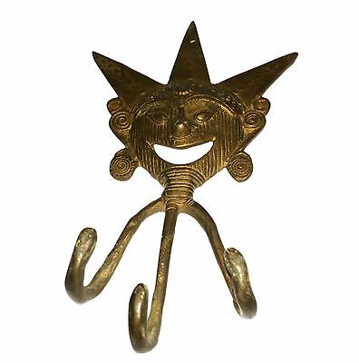 An Old Brass made Unique self engraved CLOWN designed COAT HOOK from INDIA 4
