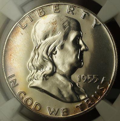 1955 Franklin Silver Half Dollar 50c Proof Coin NGC PF-66 Lightly Toned GEM 3