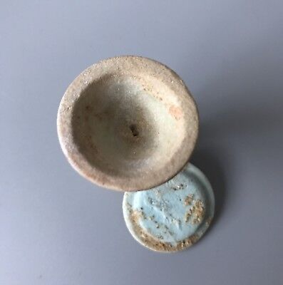 RARE Ancient Egyptian Blue - Green Glazed Faience Offering Cup With Lid 4