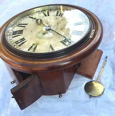 "Antique 12"" Fusee Mahogany Wall Clock 7"