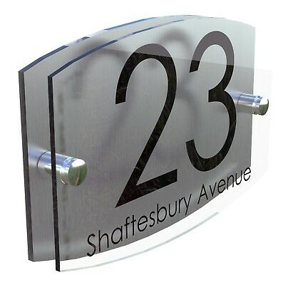 Contemporary House Sign Plaque Door Number 1 - 999 Personalised Name Plate 3