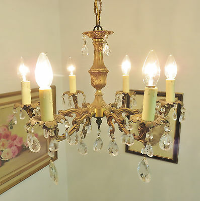 Superb Vintage French Chandelier Light Lamp Glass Droplets Lustre Pampilles 2