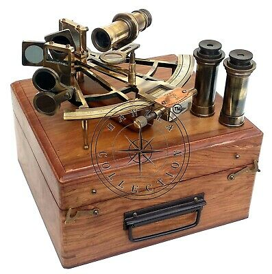 """8"""" Henry Barrow Nautical Sextant Antique Brass Ship Astrolabe With 2 Telescope 5"""