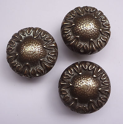 Lot 3 Vintage Solid Brass Pull handles Knobs 1 3/4'' + Backplates  Free Shipping 12