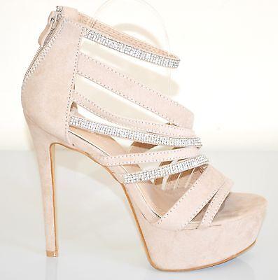 ... SANDALI BEIGE donna DECOLTE scarpe tacco alto STRASS plateau eleganti  sera XA1 2 7b7656f6d31