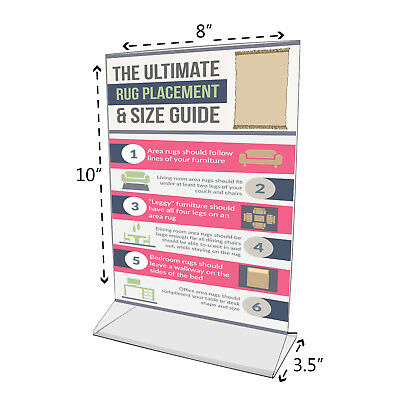 """8""""W x 10""""H Sign Holder Ad Frame Acrylic Double Sided Table Table Tent 4"""