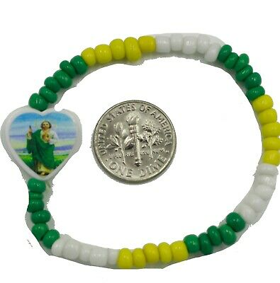 \u2022 Protection SonDaughter Baby St Pulsera San Judas Newborn Yellow Jude Silver Bead Macrame Bracelet