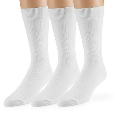 EMEM Men's Ribbed Cotton Classic Crew Dress Socks 3-Pack, Big and Tall Available 5