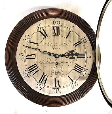 National Provincial Bank CHAIN Fusee Mahogany Wall Clock SIR JOHN BENNETT LONDON 4