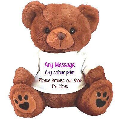 "Personalised teddy bear brown 30CM/12"" TOP TO TOE MANY  DESIGNS TO CHOOSE FROM 2"