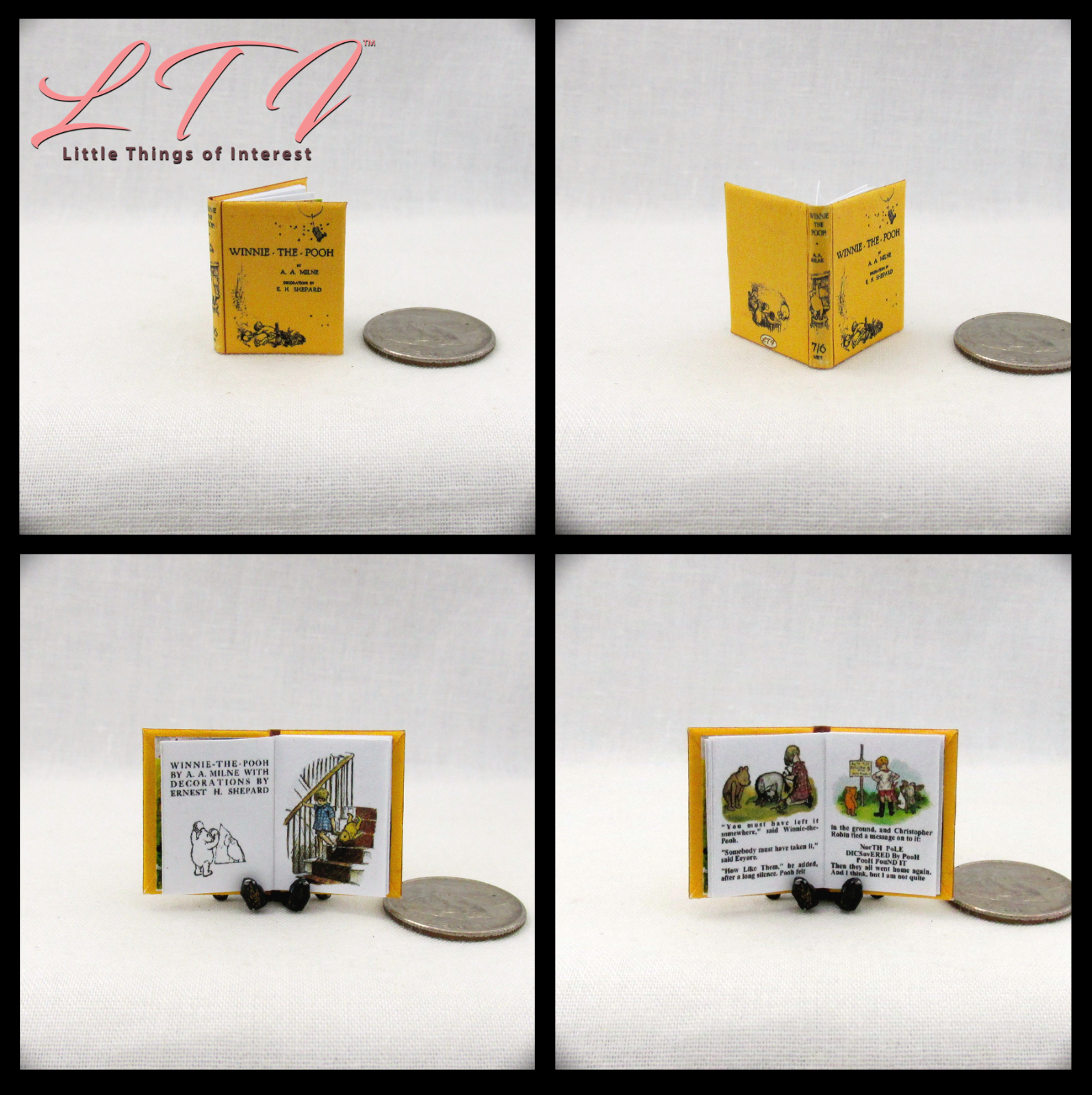 WINNIE THE POOH Miniature Book Dollhouse 1:12 Scale Illustrated Readable Book 2