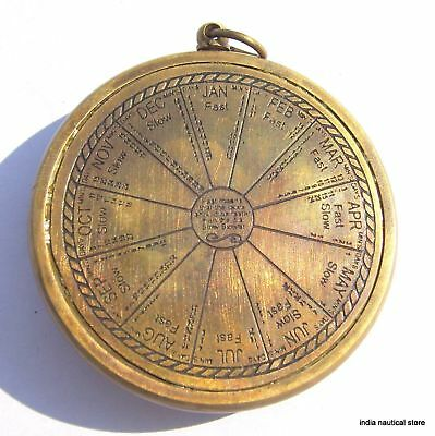 Lot Of 10Pc Vintage Sundial Clock Keychain Antique Brass Maritime Key-Ring Gift 4