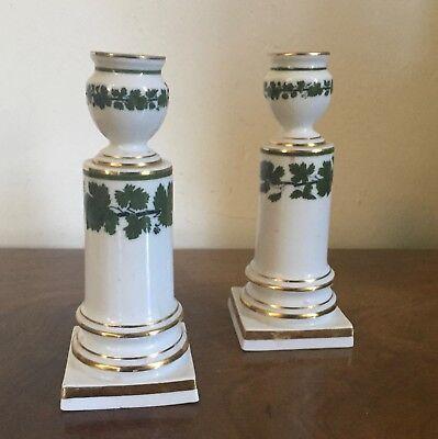 Pair Antique German Meissen Porcelain Candlesticks Green Napoleon Ivy Empire 9