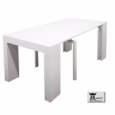 Tavolo Consolle Allungabile Magika.Tavolo Consolle Laccato Bianco Lucido Allungabile Fino A 300 Cm Il