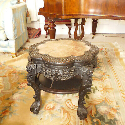 Chinese Hardwood Fish Bowl Jardiniere Stand Table  Qing Dynasty 19th C 8