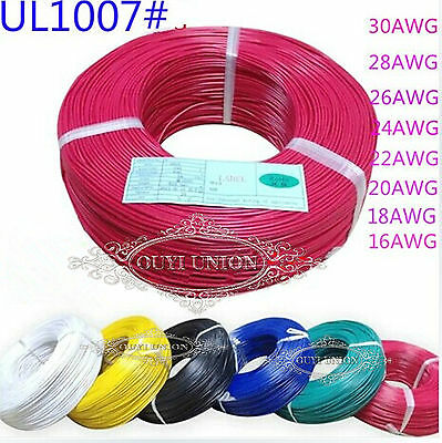 5M Equipment Wire 22AWG Multi Copper Core Hook UP Stranded  DIY Electrical Wire 2