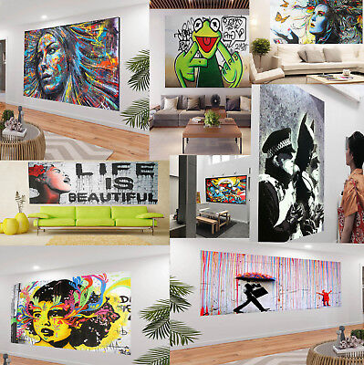 Painting Graffiti Street Art Banksy norway rainbow rain Print Canvas Australia 7