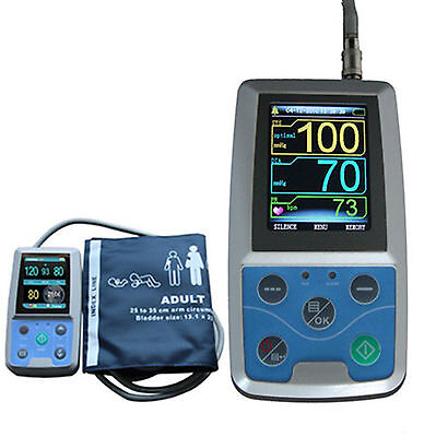 NIBP Monitor 24HOUR Ambulatory Blood Pressure Holter ABPM 50+SOFTWARE+Oximeter 9