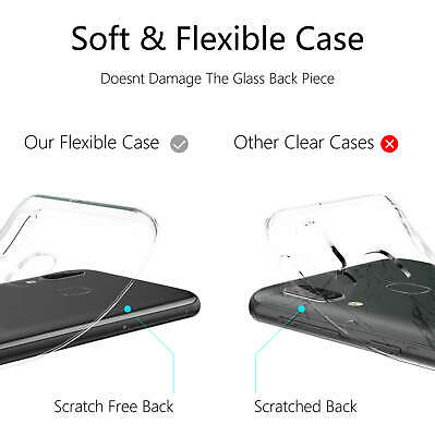 Samsung Galaxy A40 A50 Clear Gel Case Tempered Glass Screen Protector TPU Cover 7