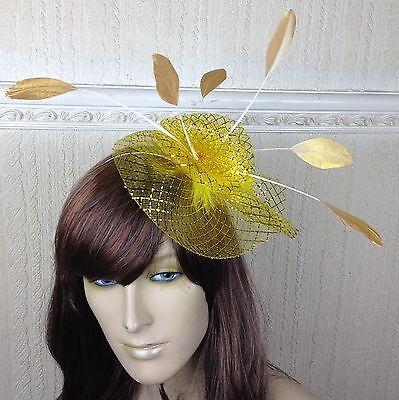 gold netting feather hair headband fascinator millinery wedding hat ascot race 3