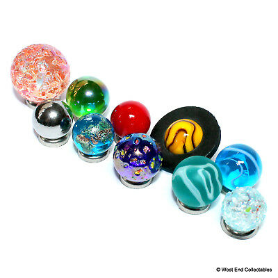 Mini Solar System Marble Set - 14-22mm Orrery Globe Planet Glass Marbles -Earth 4